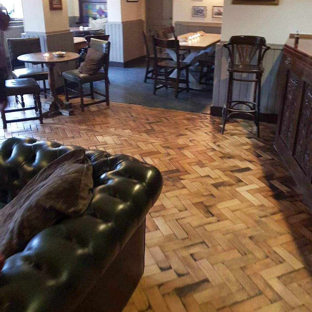 Parquet Floor Restoration for the Red Lion Pub in Buckinghamshire