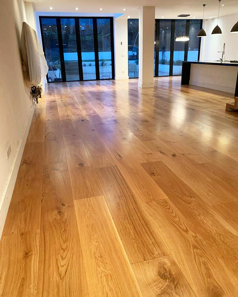A classic engineered oak floor installed in a kitchen