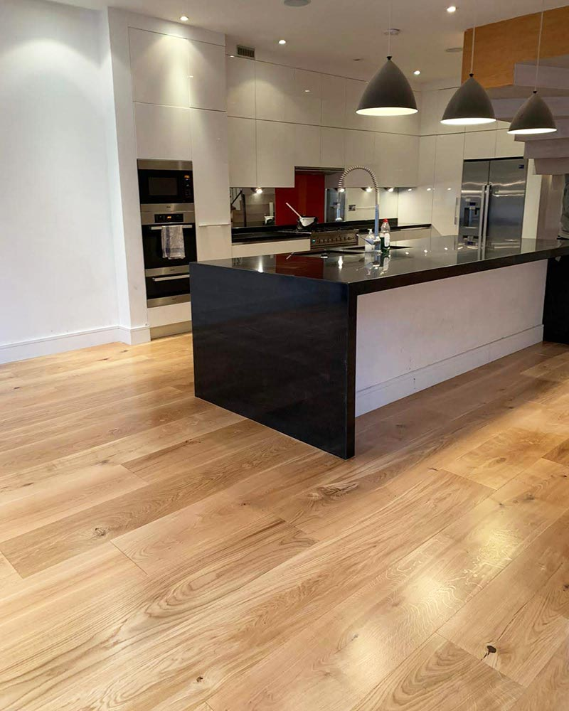 Engineered Wood Flooring Laid in a Kitchen