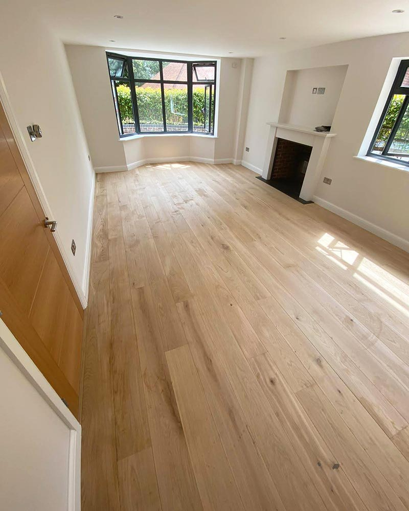 Oak wooden floor fitted in a living room